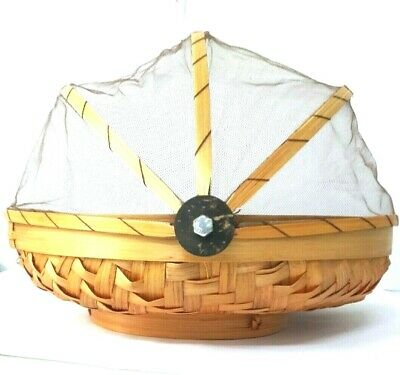 Tent Tray Mesh Cover food Hand-Woven Bamboo Storage Basket Table Serve 1 pc