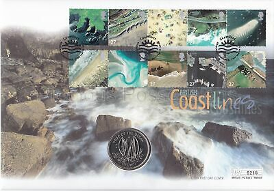 Gb Coastlines 2002 Pnc Coin Cover 1998 Isle Of Man Year Ocean Crown