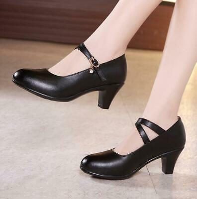 Women Mid Heel Mary Janes Chunky Shoes Round Toe Casual Ankle Strap Shoes Mules