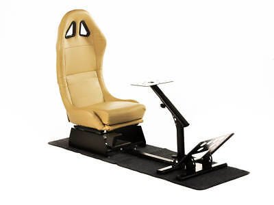 Car Gaming Racing Sim Chair Bucket Seat PC PS3 PS4 XBox Drive Beige Faux Leather