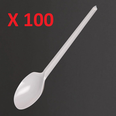 Fiesta Disposable Plastic Dessert Spoons White (Pack of 100)