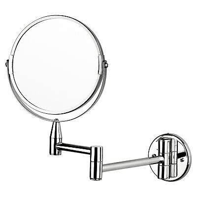 "Chrome Reversible Double Sided Wall Mounted 7"" Shaving Make Up Vanity Mirror"