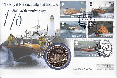 Isle Of Man Gb Mercury Pnc Cover 1999 Rnli Lifeboat Annivers Five Pound £5 Coin