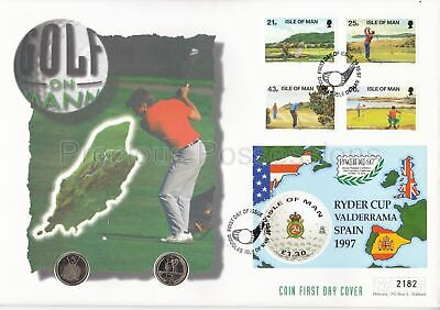 Isle Of Man Gb Mercury Pnc Cover 1997 Golf Ryder Cup 2 X 5P Coins
