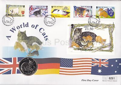 Isle Of Man Gb Mercury Pnc Cover 1996 A World Of Cats 1 One Crown