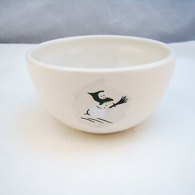 Williams Sonoma HOLIDAY SNOWMAN Soup/Cereal Bowl (Green Hood/Broom Snowman) READ