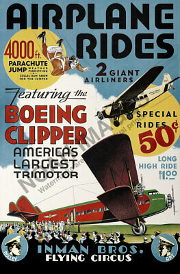 Airplane Rides Flying Circus vintage air show poster 12x18