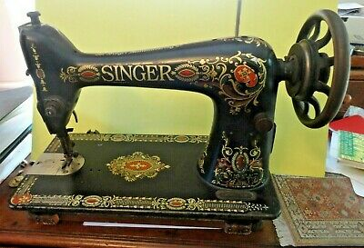 Antique Singer Treadle Sewing Machine Head Model 66 Red Eye - 1910
