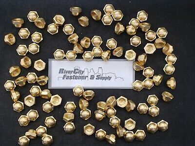 (100) 1/2-13 Brass Acorn / Dome / Cap Hex Nut 1/2 x 13 Nuts 1/2x13 Nut