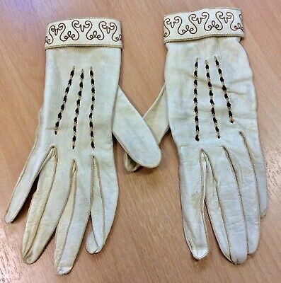 Vintage Cream Kid Leather Gloves With Embroidered Detailing S