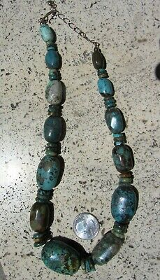"""VINTAGE Chinese Handmade Beads Hubei Turquoise Necklace 22"""" 147 Grams Fine"""