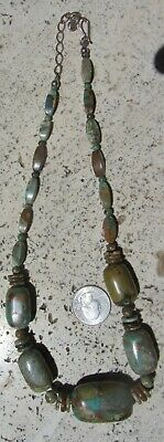 """Vintage Chinese Handmade Beads Hubei Turquoise Necklace 22"""" 77 Grams Fine"""
