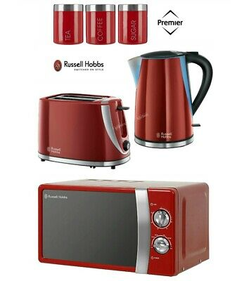 Russell Hobbs Mode Kettle and Toaster with Manual Microwave + Canisters - Red