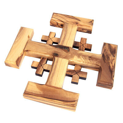 "Jerusalem Cross Olive Wood Wall Decor Hand Carved from Bethlehem 6.5""/16"