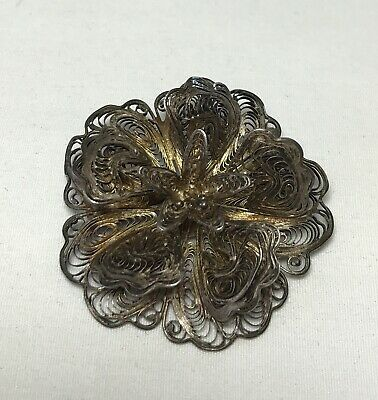VTG Sterling Silver MEXICO Filigree Ornate Flower Floral Brooch Pin Jewelry