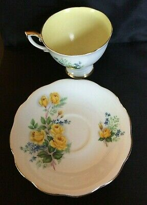 Royal Standard Teacup & Saucer With Yellow Roses & Yellow Inside & Gold Trim