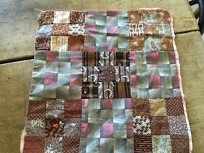moprimitivepast AAFA antique 1800s brown calico make rag doll quilt hand sewn