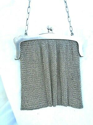 Antique S.B & CO early 1800's Victorian 925 sterling mesh clutch purse 217 grams