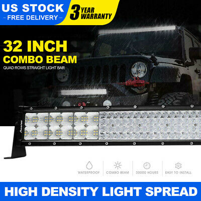 32Inch 4080W Quad-row LED Work Light Bar Flood Spot Combo OffRoad  PK 30/32