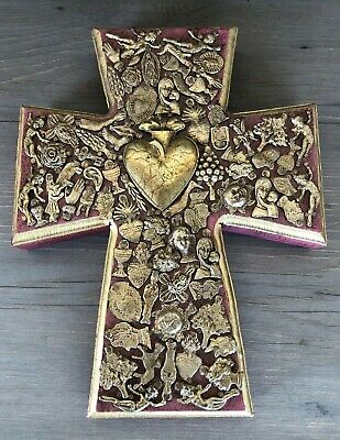 Large Vtg Mexican Folk Art Sacred Heart Gold Mini Milagros Ex Voto Wooden Cross
