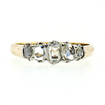 Antique French Victorian 18K Gold & Platinum 0.75ctw Rose Cut Diamond Band Ring