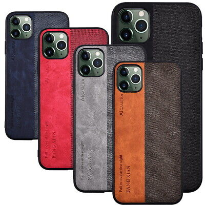For iPhone 11 Pro Max Luxury Cloth Fabric Hybrid Leather Rubber Slim Case Cover