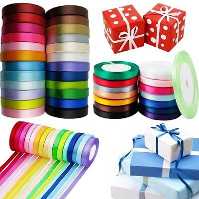 22M Double Sided Satin Ribbon Reels Roll Width 6,10,15,25,38mm Gift Box Decor