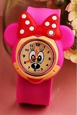 New Minnie Mouse & Polka Dot Bow Girls Wrist Watch Fits All Sizes In Gift Box