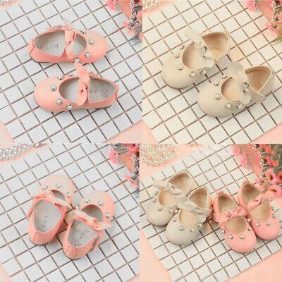 Cute Toddler Infant Kids Baby Girls Elegant Bowknot Pearl Single Princess Shoes
