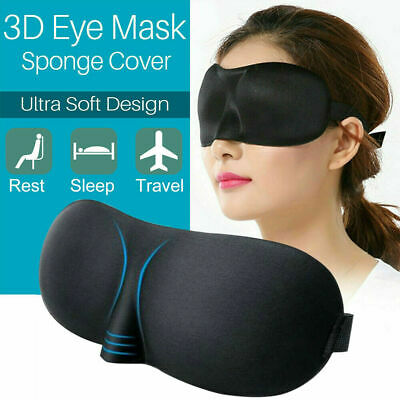 3D Soft Padded Blindfold Blackout Eye Mask Travel Rest Sleep Aid Shade Cover Men