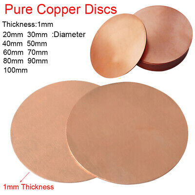 1mm Thick T2 Solid Pure Copper Discs Blanks Round Plate Metal Sheet 20-100mm OD