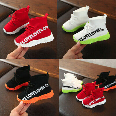 Children Kids Baby Girls Boys Letter Stretch Run Sneakers Sport Shoes Soft Boots