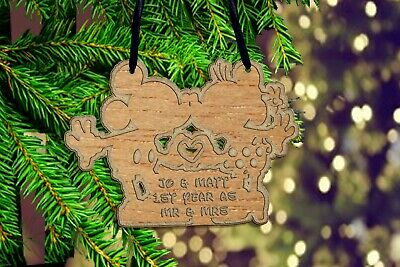 Personalised Mickey and Minnie Kissing Christmas tree ornament mouse family gift