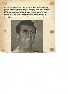 Bobby Smith signed 6x6 inch b/w newspaper cutting, former football player EL444