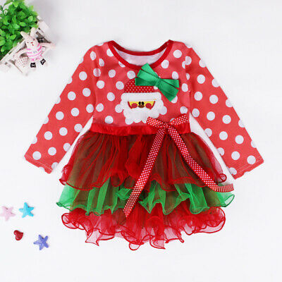 Kids Girls Christmas Dress Long Sleeve Party Xmas Fancy Toddler Casual Outfit