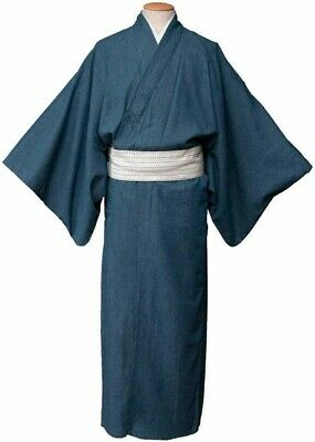 Japanese Men's Kimono Unlined Denim Pale Blue Washable From Japan with Tracking
