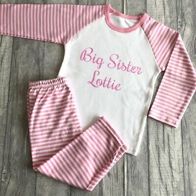 PERSONALISED BIG SISTER PYJAMAS, Big Sister Name Pink White PJS Sleepwear Gift