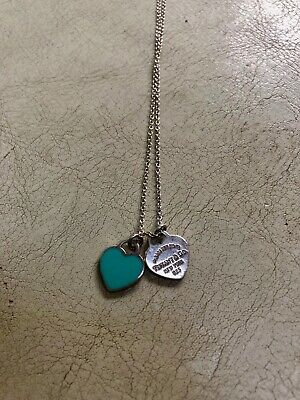 Return to Tiffany Sterling Silver Blue Enamel Mini Hearts Necklace 17""