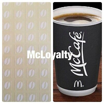 60 McDONALDS COFFEE BEAN STICKERS  LOYALTY VOUCHERS  VALID DEC 2020 ULTRAVIOLET
