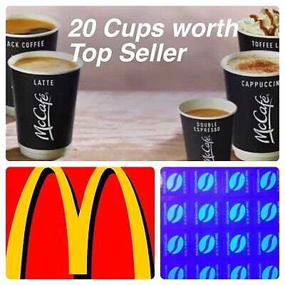 120 McDONALDS COFFEE BEAN STICKERS  LOYALTY VOUCHERS  VALID DEC 2020 ULTRAVIOLET