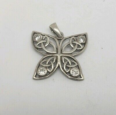 Celtic Irish Knot Sterling Silver And Clear Cz Butterfly Pendant