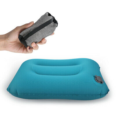 Air Pillow Inflatable Cushion Portable Head Rest Compact Travel Camping w/ Pouch