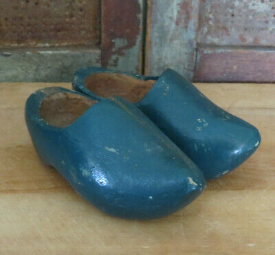 Antique Carved Wood Wooden Childs size Dutch Shoes in old Blue Paint AAFA