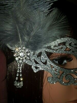 Black Silver Glitter Filigree Masquerade Ball Mask Christmas Party Feathers 2