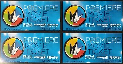 4 Regal Premiere Movie Tickets / NO EXPIRATION DATE / FREE SHIPPING