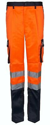 Hi Viz VIS Band Polycotton Trousers High Visibility Safety Work Wear Reflective