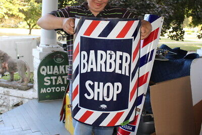"Original Vintage 1940's Barber Shop Pole Gas Oil 24"" Porcelain Curved Metal Sign"