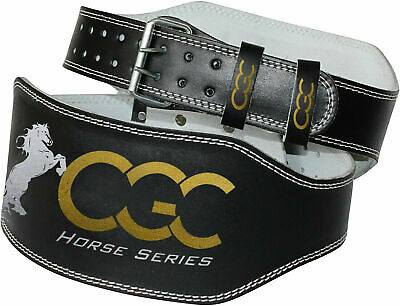 "CGC Leather 4"" Weight Lifting Belt 6'' Powerlifting Bodybuilding Fitness Gym"