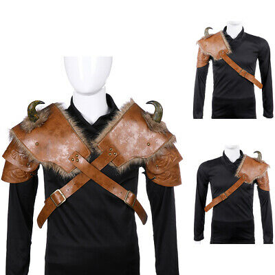 Adults PU Leather Medieval Viking Shoulder Armor Halloween Cosplay Costume Dress
