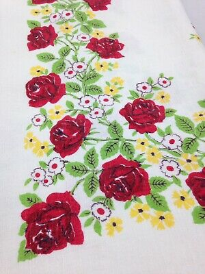 Vintage Tablecloth 50's 60s Red Rose Flowered Cotton Linen 49 x 49.5